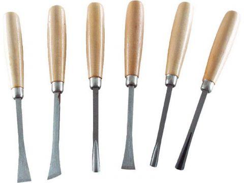 EXTOL dláta řezbářská s dřevěnou rukojetí, sada 6ks, délka dlát 165mm, EXTOL CRAFT (3936)